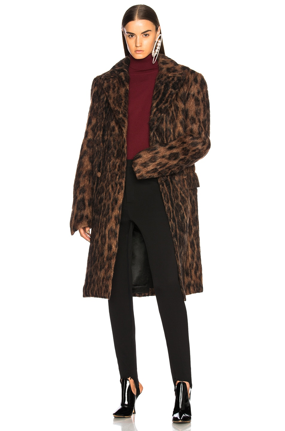 Image 1 of Y Project Leopard Coat in Brown