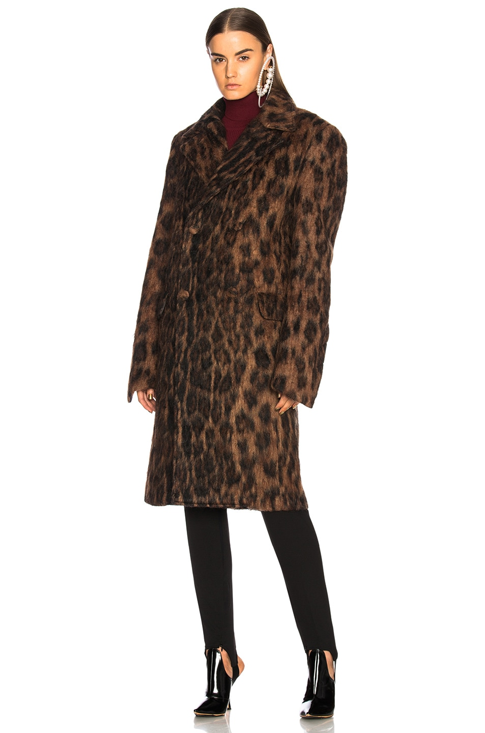 Image 2 of Y/Project Leopard Coat in Brown