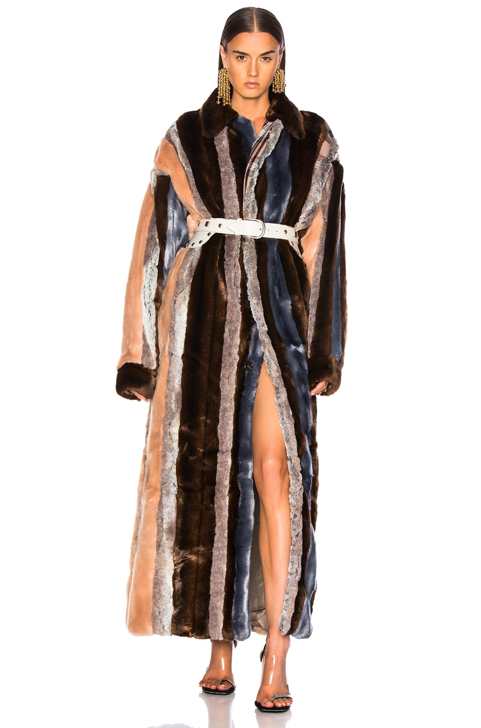 Image 1 of Y/Project Faux Fur Coat in Dusty Pink