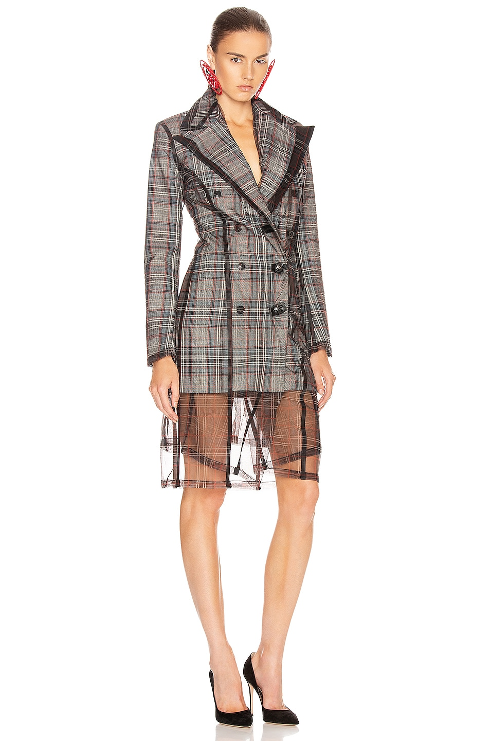 Image 1 of Y/Project Condom Tuxedo Coat in Grey Check