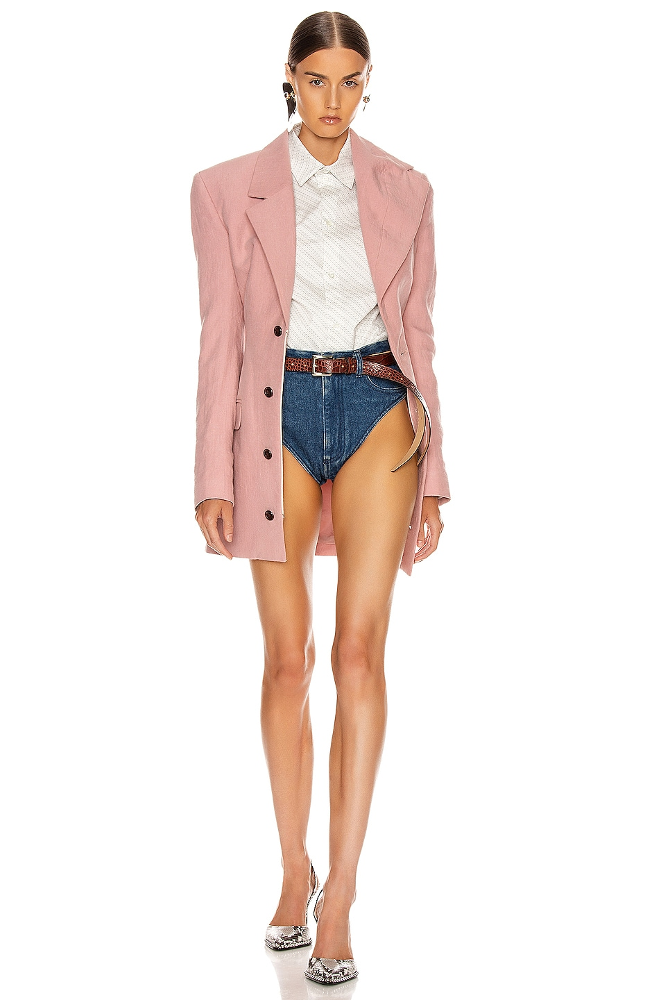 Image 1 of Y/Project Asymmetric Lapel Blazer in Cassis