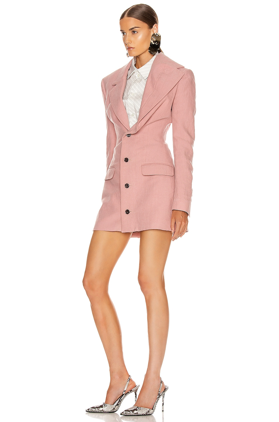 Image 4 of Y/Project Asymmetric Lapel Blazer in Cassis