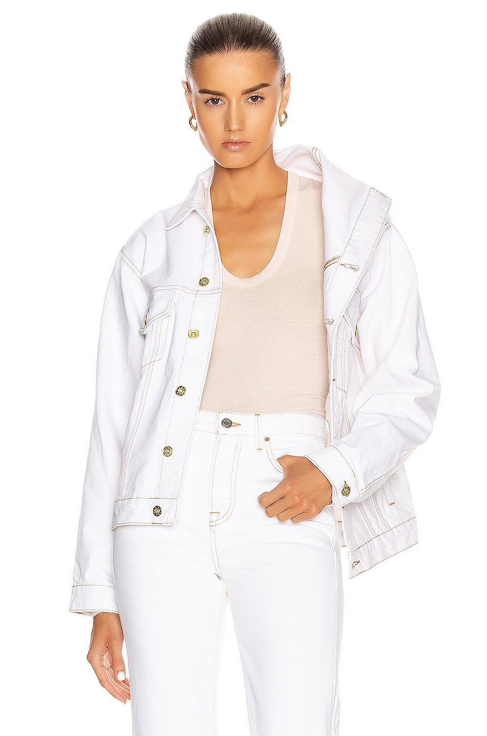 Image 1 of Y/Project Asymmetric Collar Jacket in White