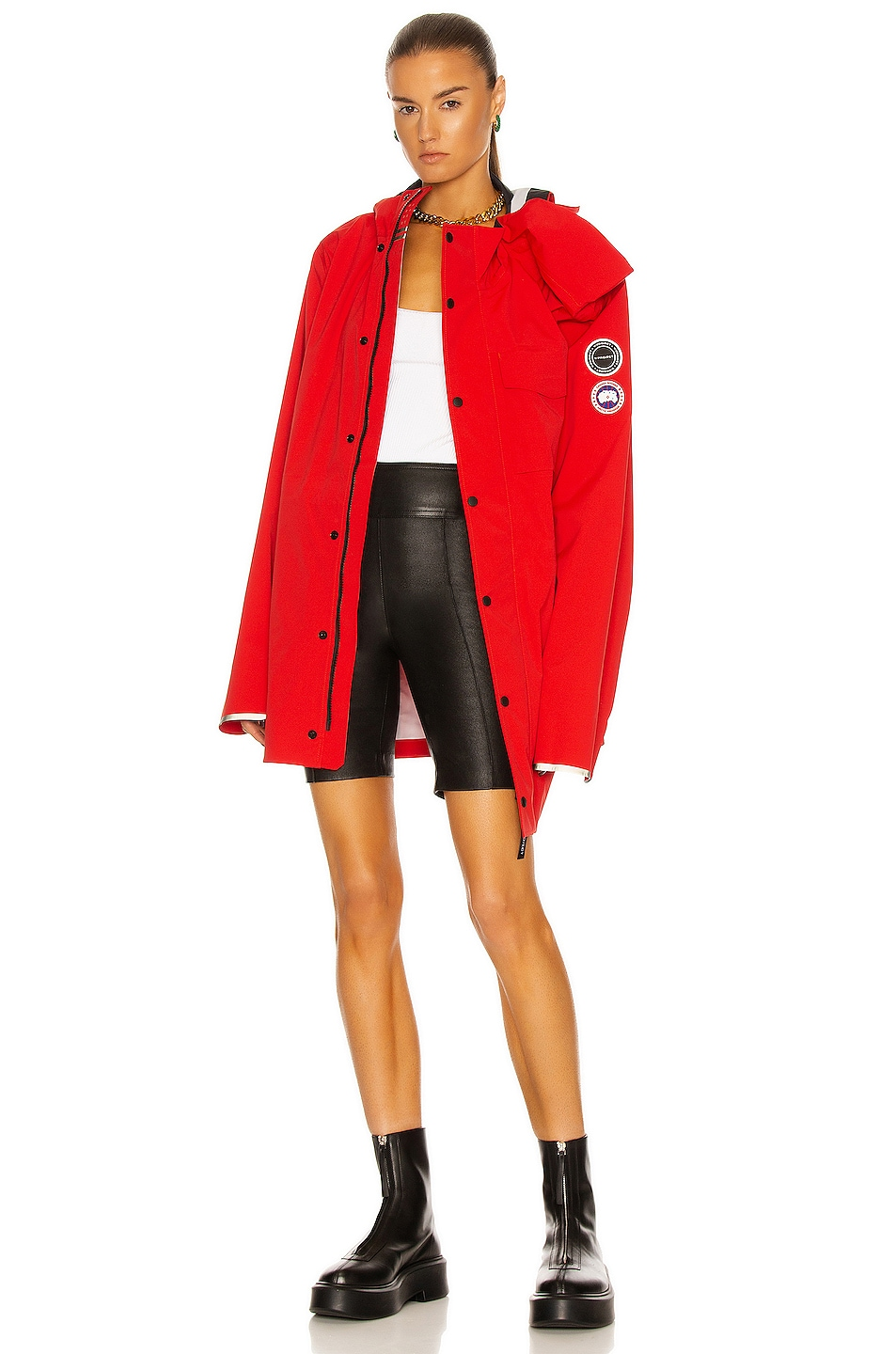 Image 1 of Y/Project x Canada Goose Nanaimo Rain Jacket in Red & Black