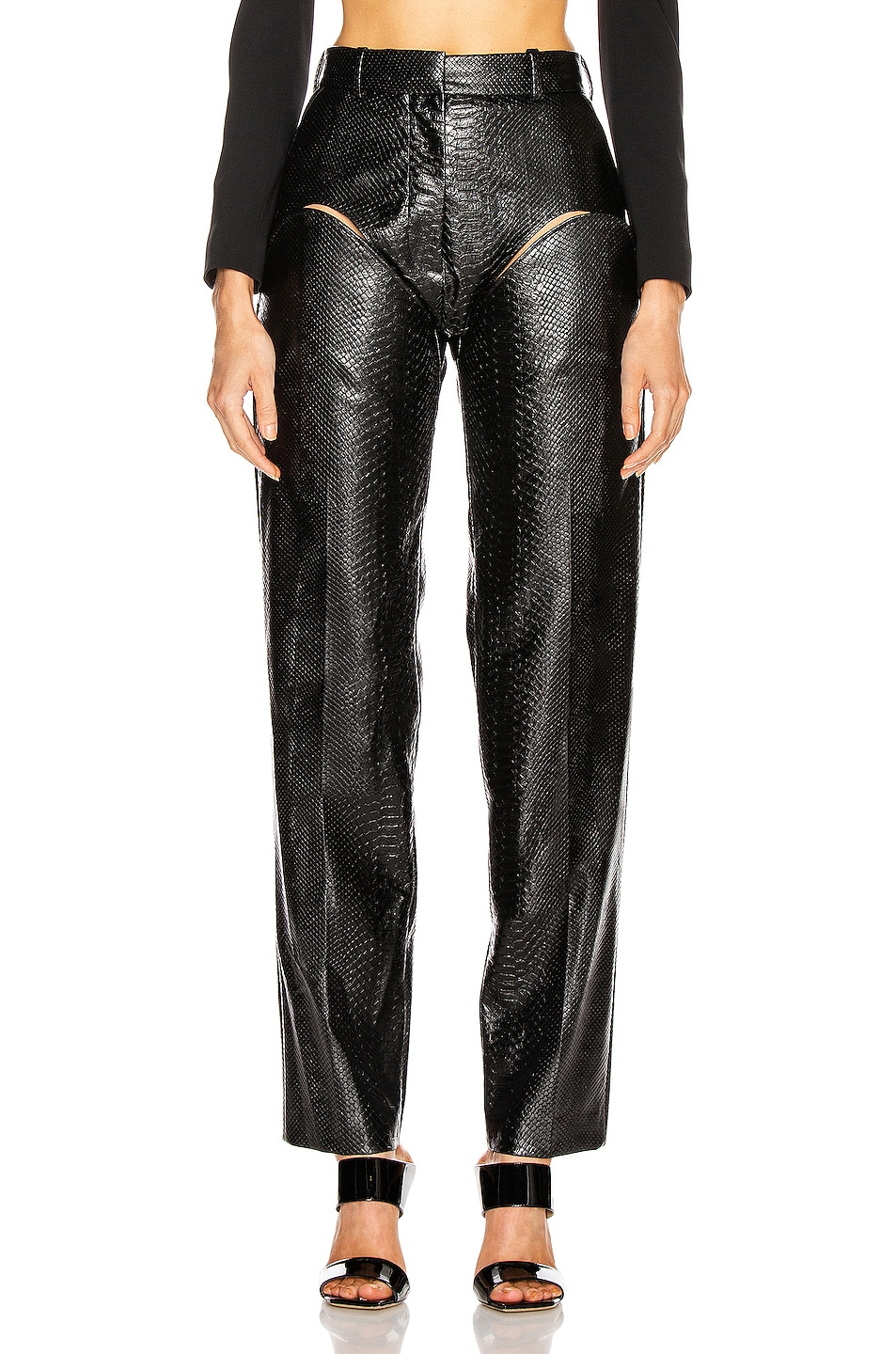 Image 1 of Y/Project Cut Out Trousers in Black Faux Python