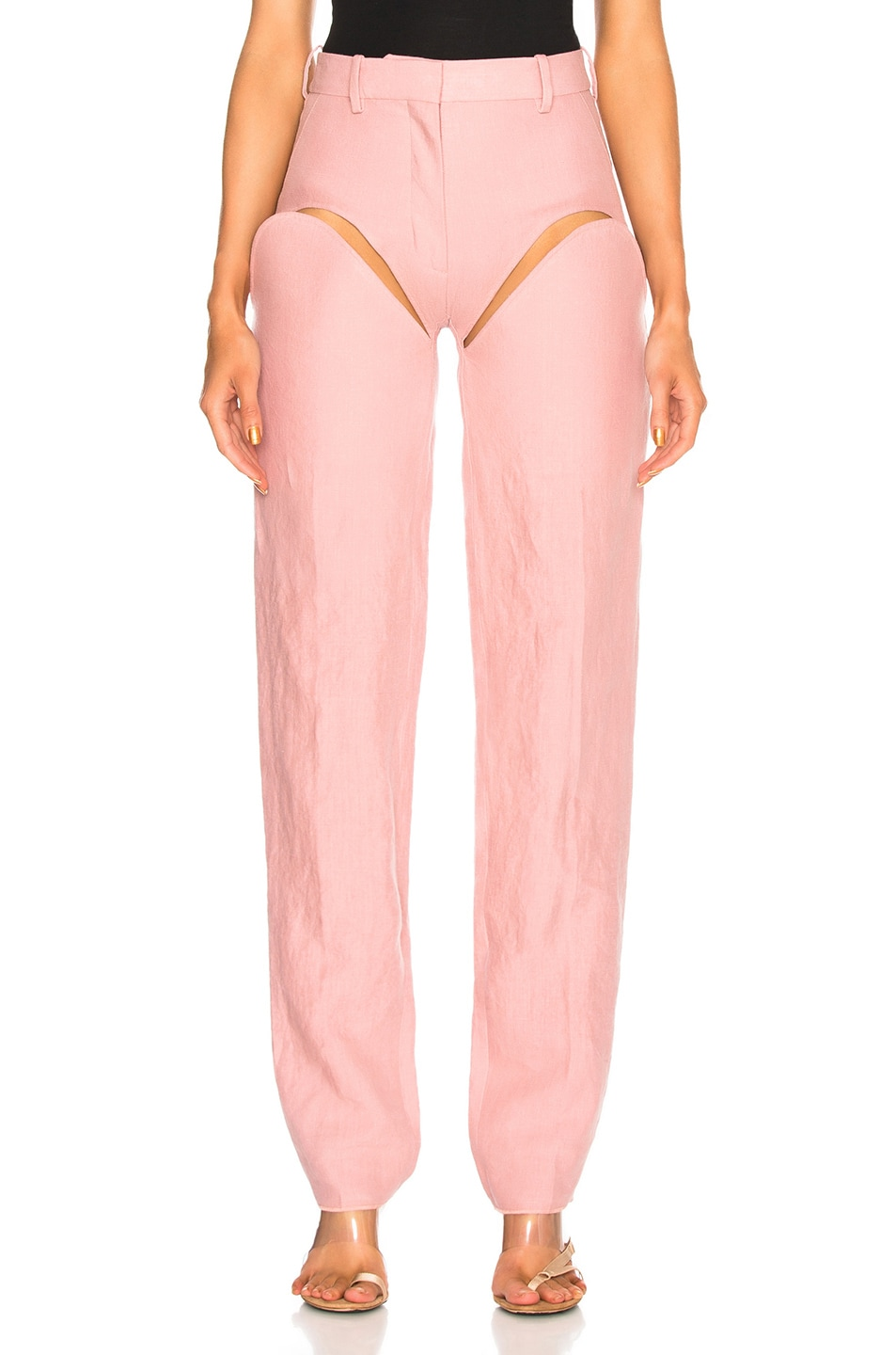 Image 2 of Y/Project Front Cut Tailored Pant in Pink