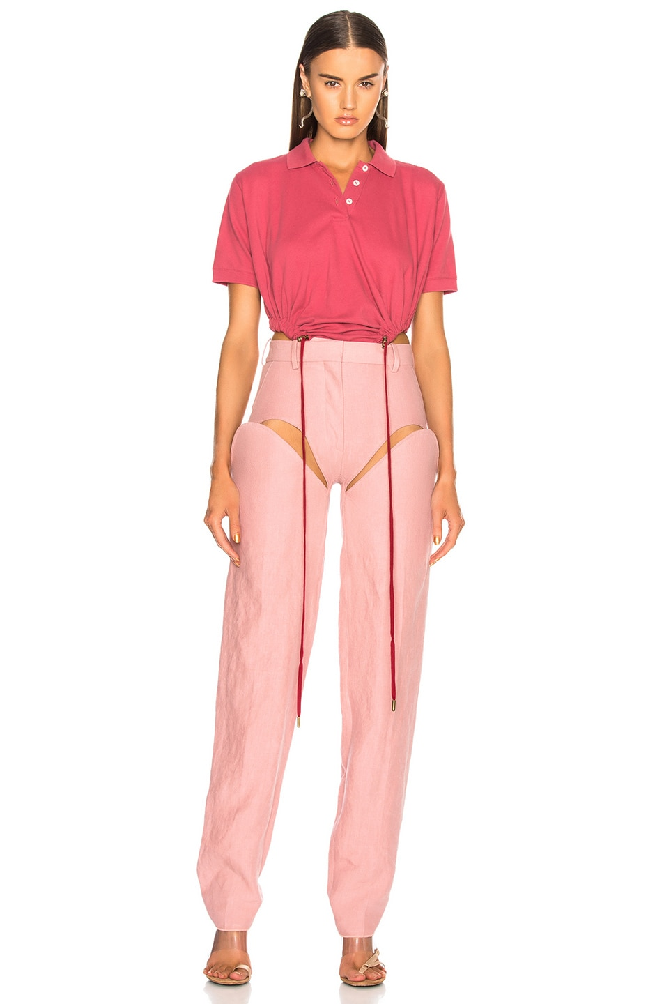 Image 5 of Y/Project Front Cut Tailored Pant in Pink