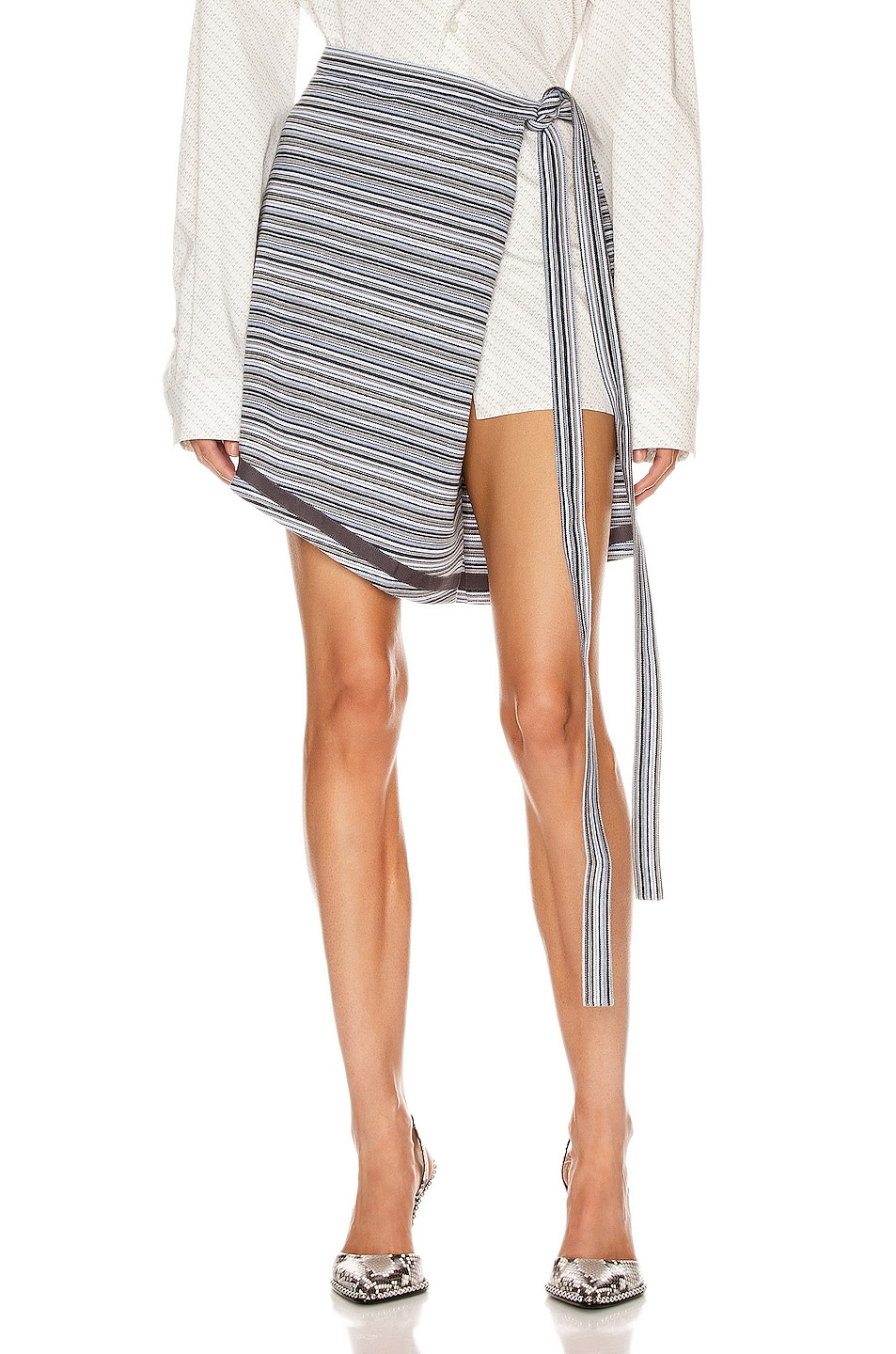 Image 1 of Y/Project Wrap Skirt in Grey Stripes