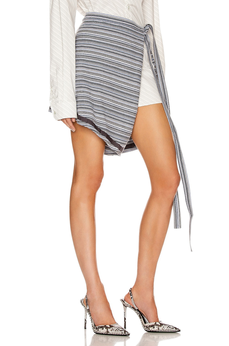 Image 2 of Y/Project Wrap Skirt in Grey Stripes