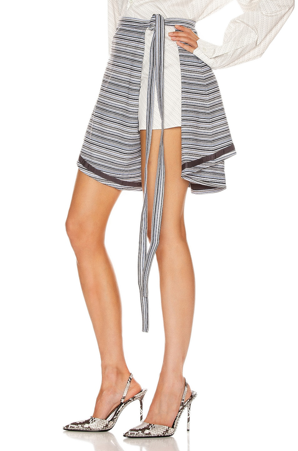 Image 3 of Y/Project Wrap Skirt in Grey Stripes