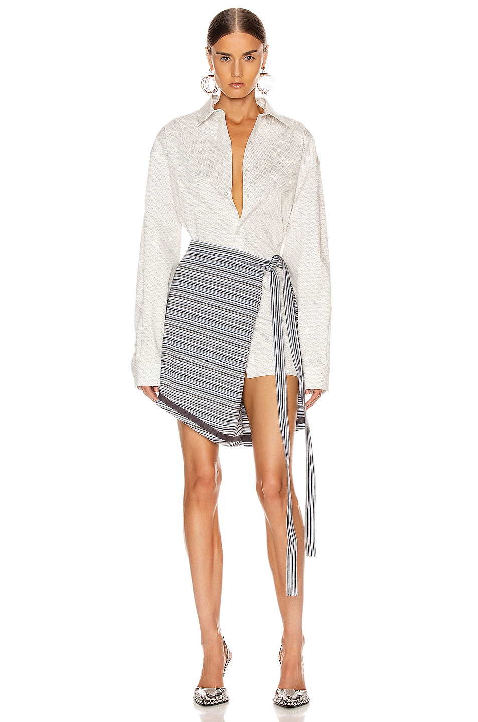 Image 5 of Y/Project Wrap Skirt in Grey Stripes