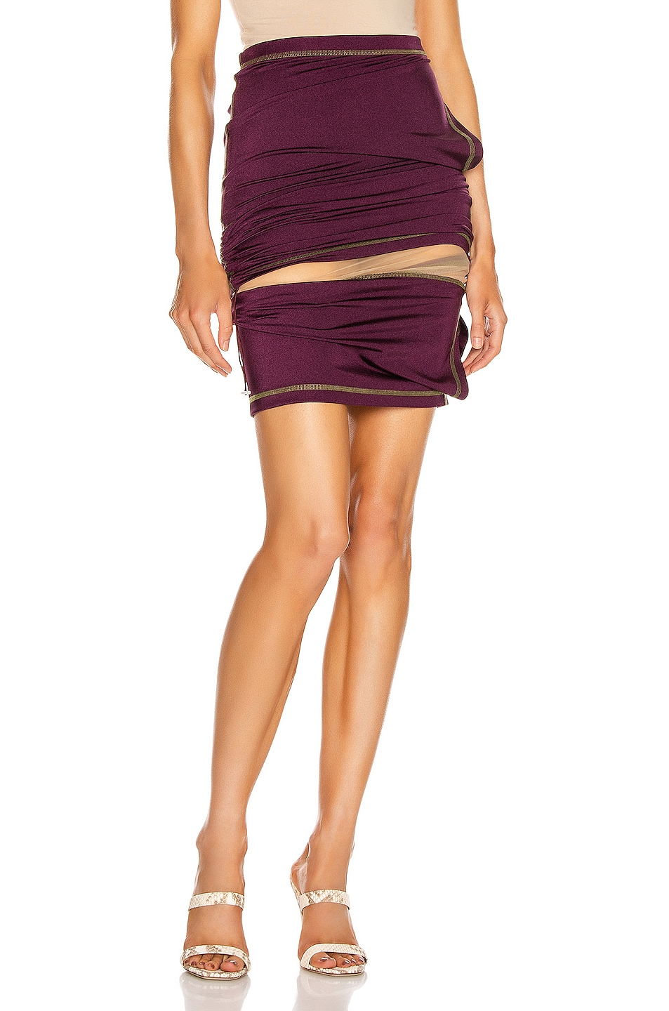 Image 1 of Y/Project Asymmetric Layered Skirt in Plum