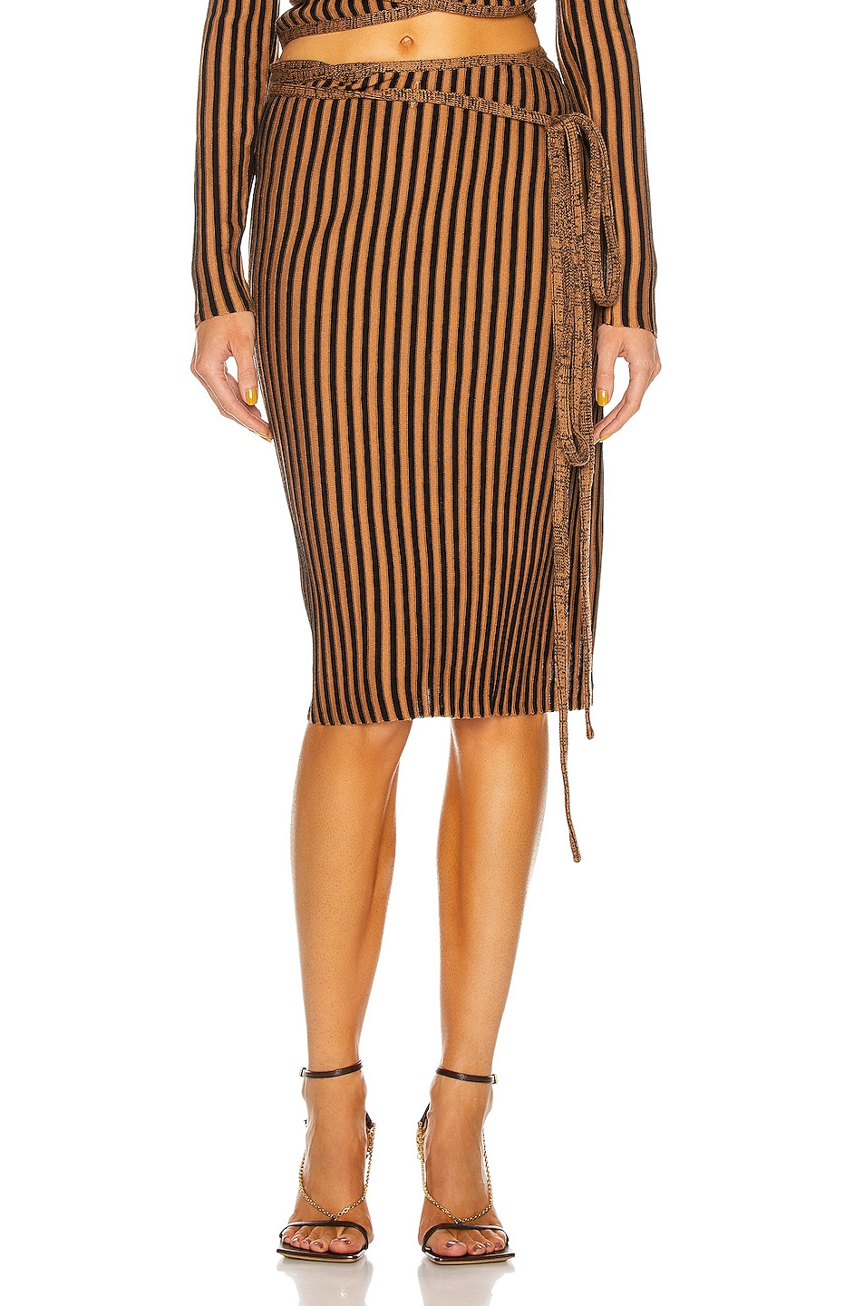 Image 1 of Y/Project Wrap Rib Skirt in Black & Rust