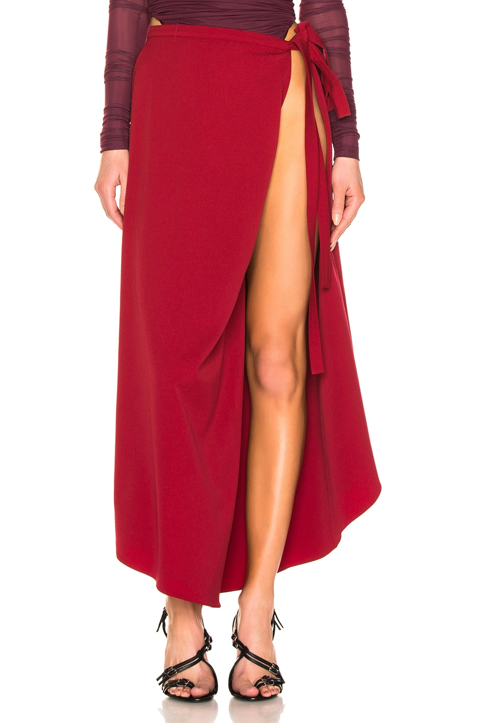 Image 1 of Y/Project Side Slit Skirt in Red