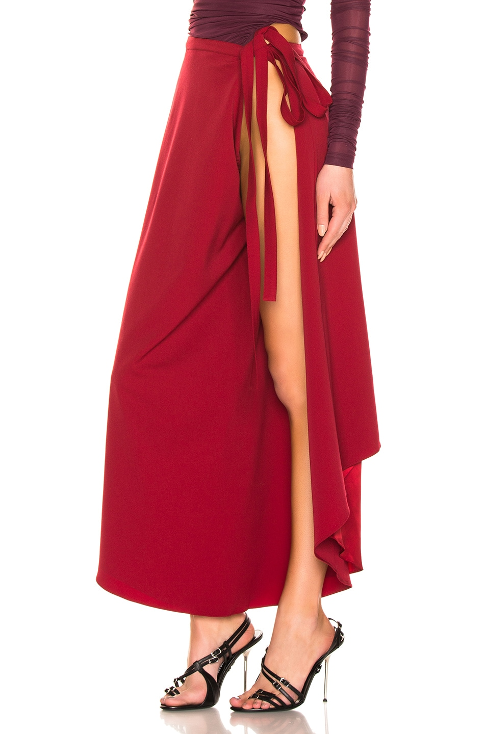Image 3 of Y/Project Side Slit Skirt in Red