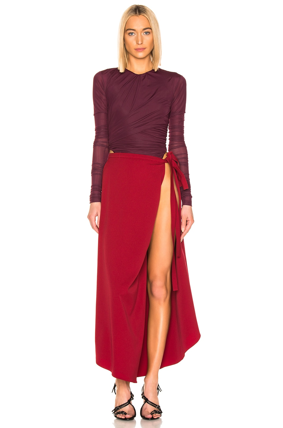 Image 5 of Y/Project Side Slit Skirt in Red