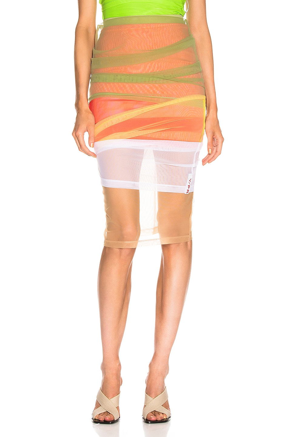 Image 1 of Y/Project Rainbow Skirt in Green