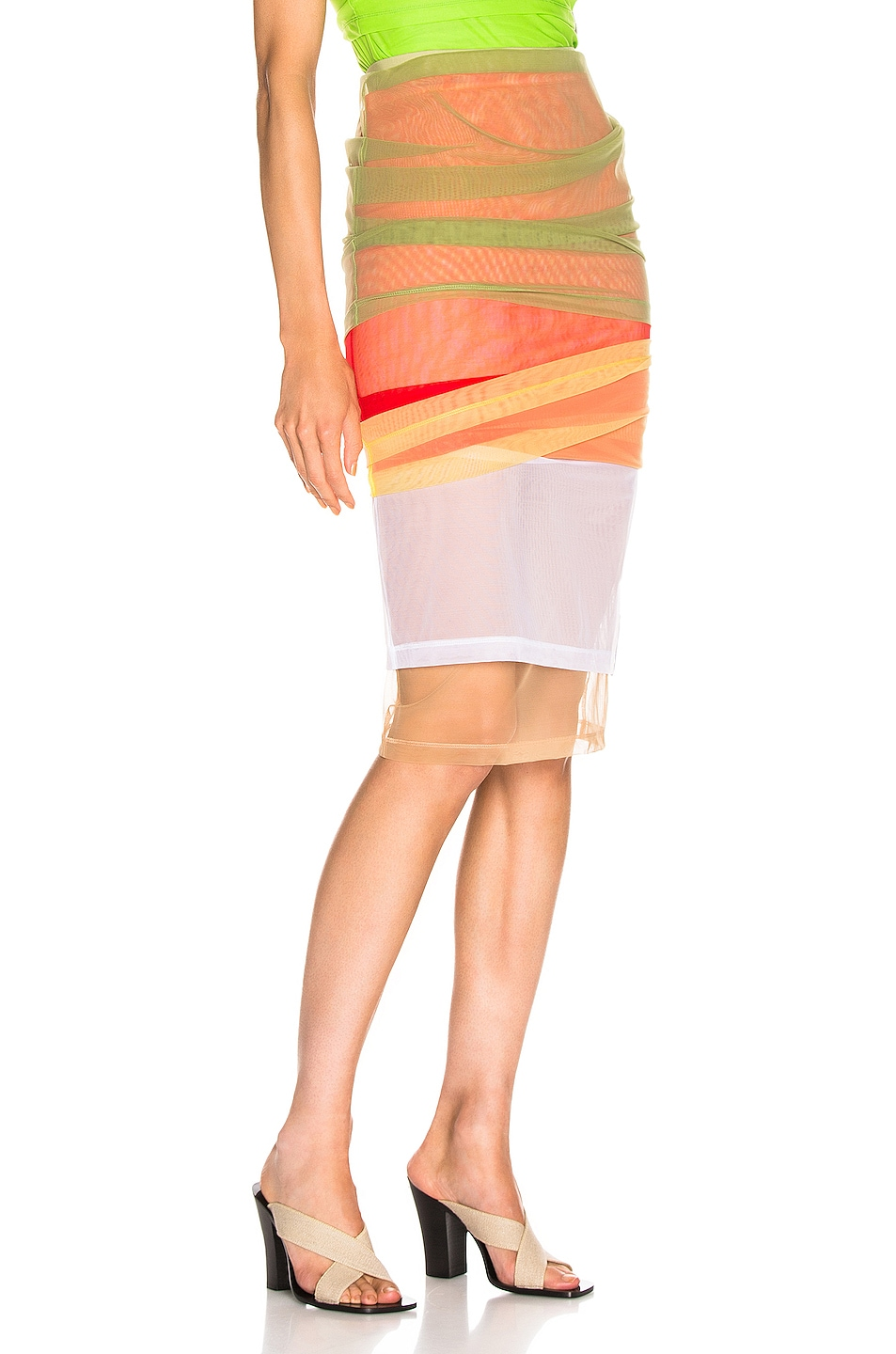 Image 3 of Y/Project Rainbow Skirt in Green