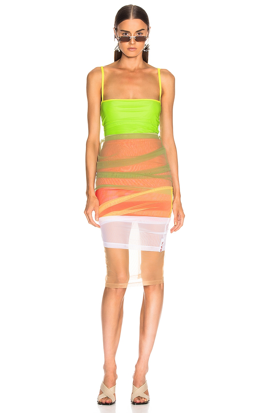 Image 6 of Y/Project Rainbow Skirt in Green