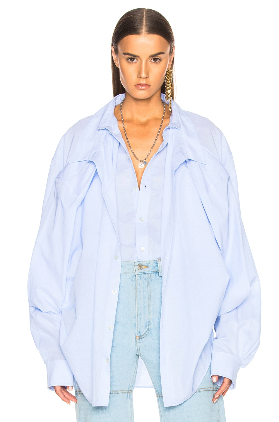 Y Project Double Layer Shirt in Blue