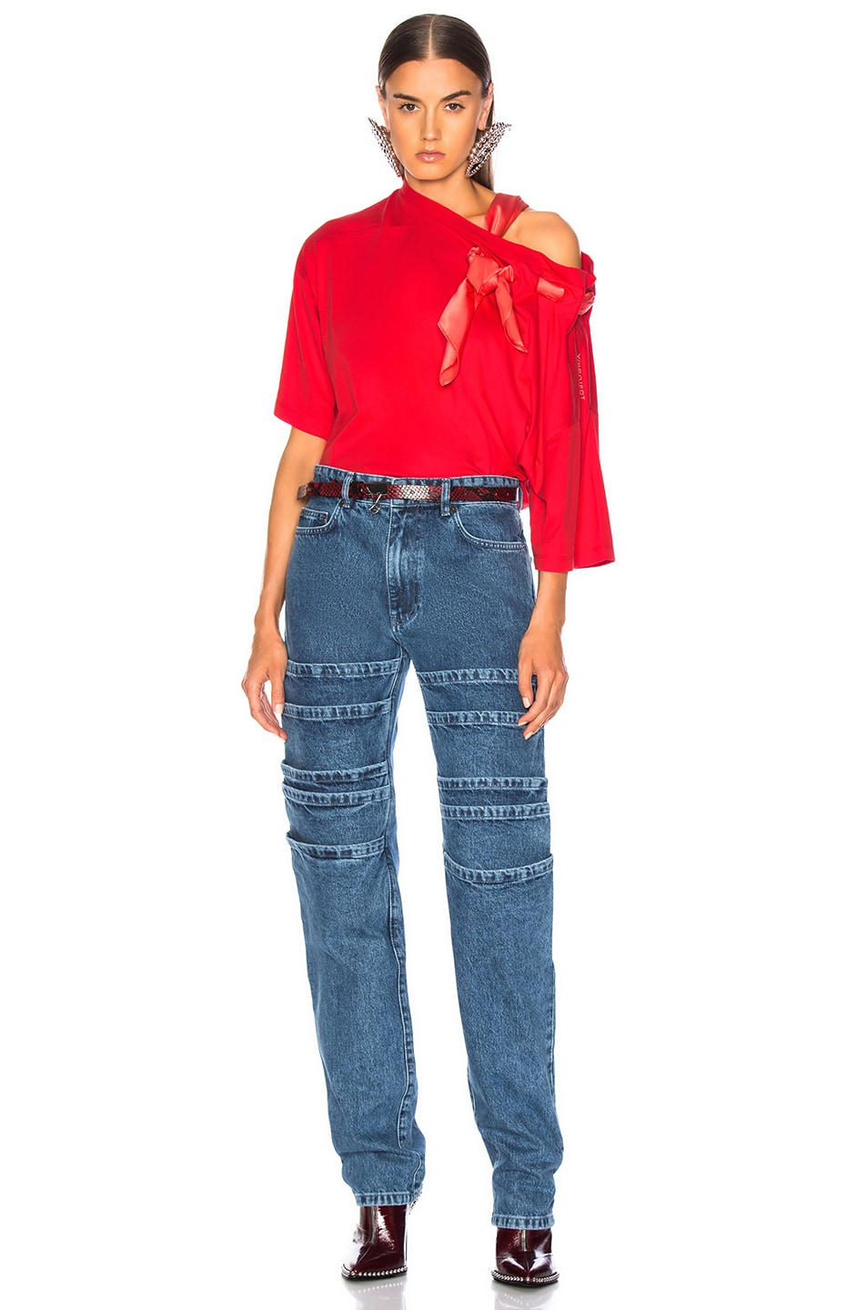 Image 6 of Y/Project Scarf Shirt in Red