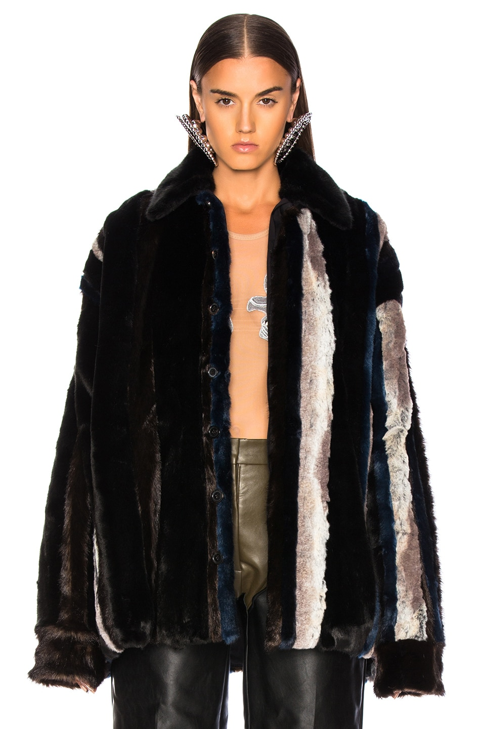 Image 1 of Y/Project Faux Fur Shirt in Brown