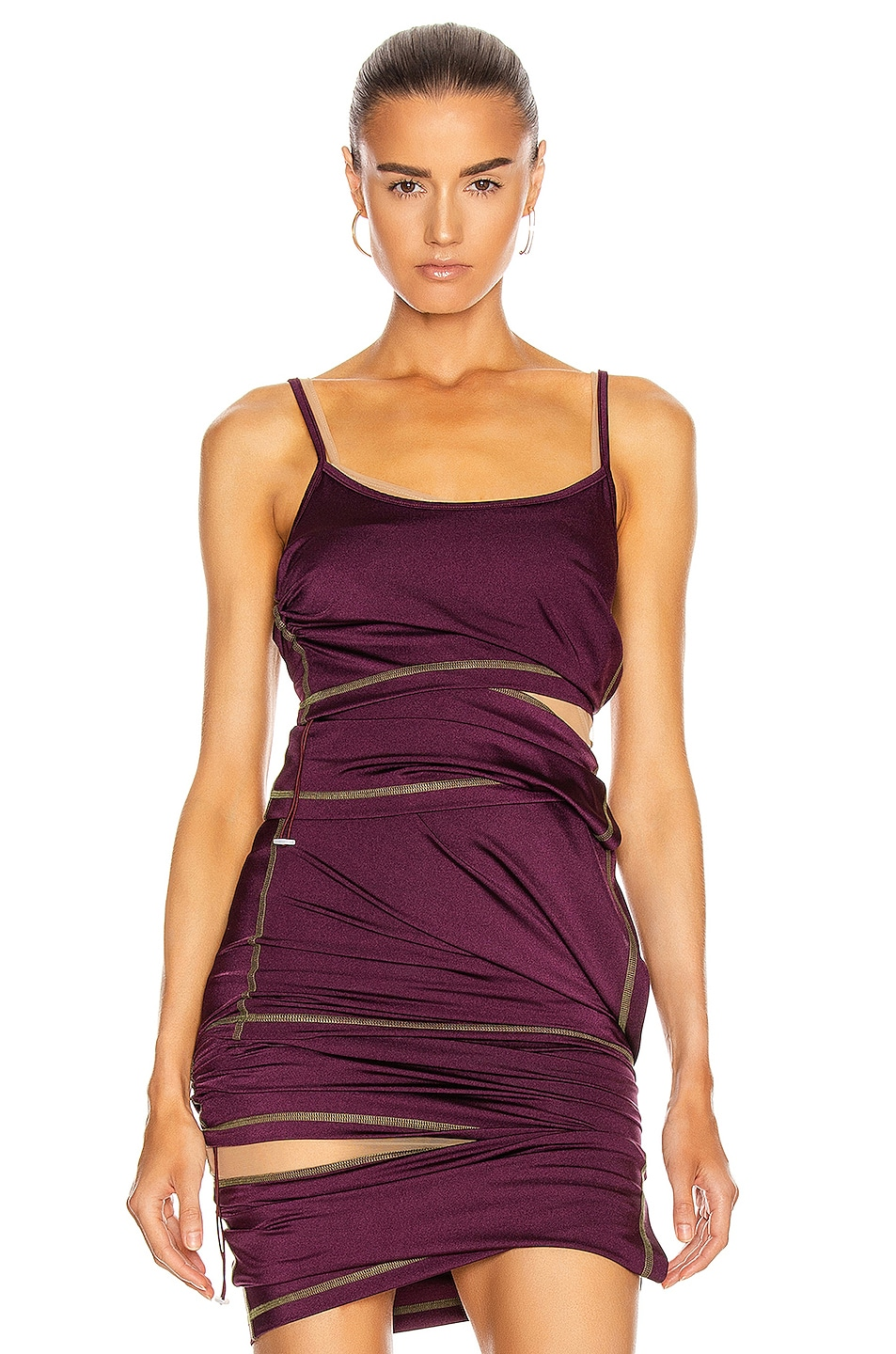 Image 1 of Y/Project Asymmetric Layered Tank Top in Plum