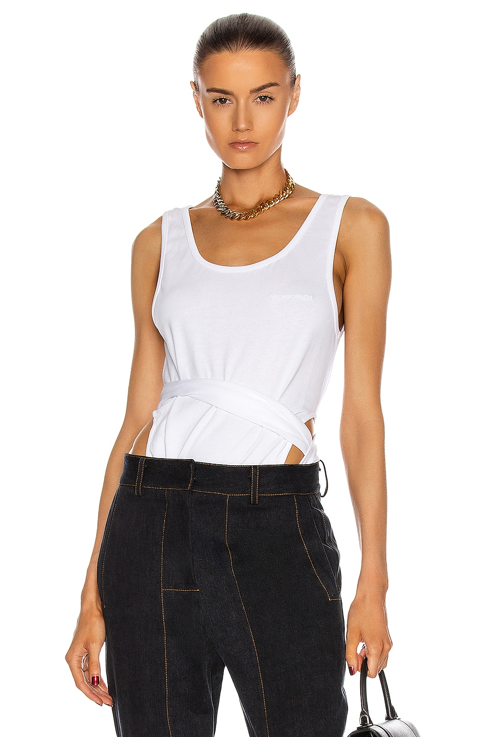 Image 1 of Y/Project Sleeveless Wrap Tank Top in White