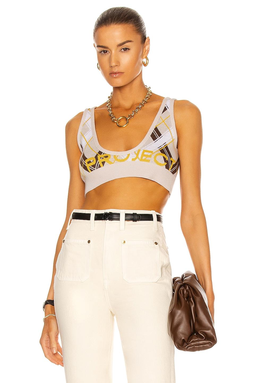 Image 1 of Y/Project Knit Y Bra Top in Oat, Cream & Brown