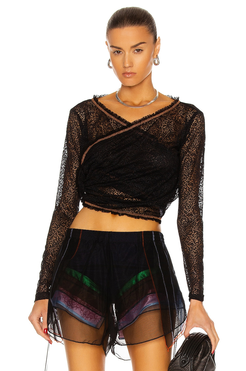 Image 1 of Y/Project Twisted Lace Top in Black