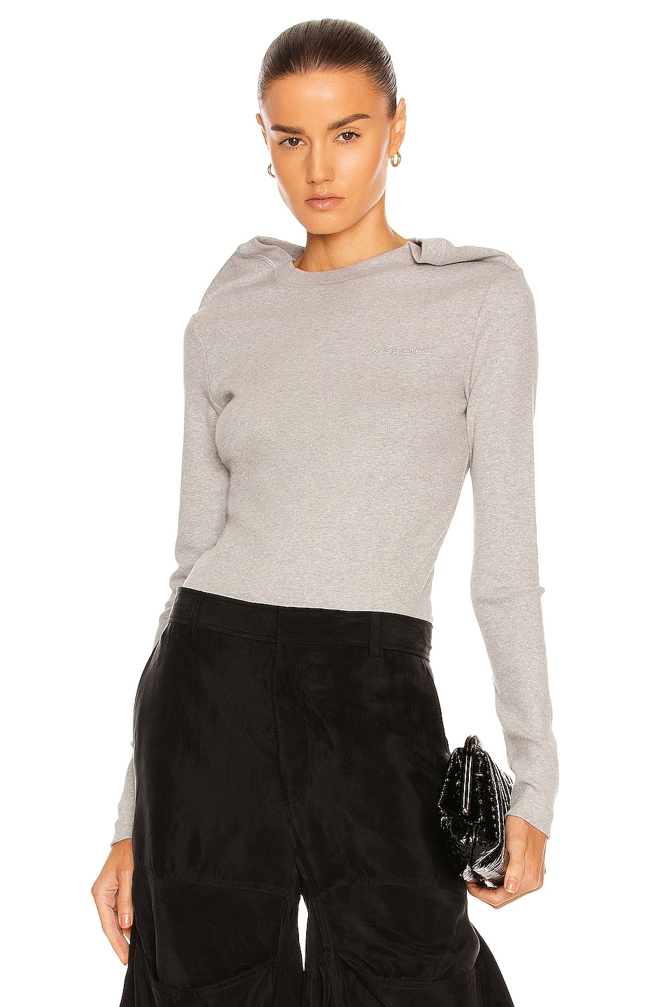 Image 1 of Y/Project Double Clip Shoulder Long Sleeve T-Shirt in Grey Chine
