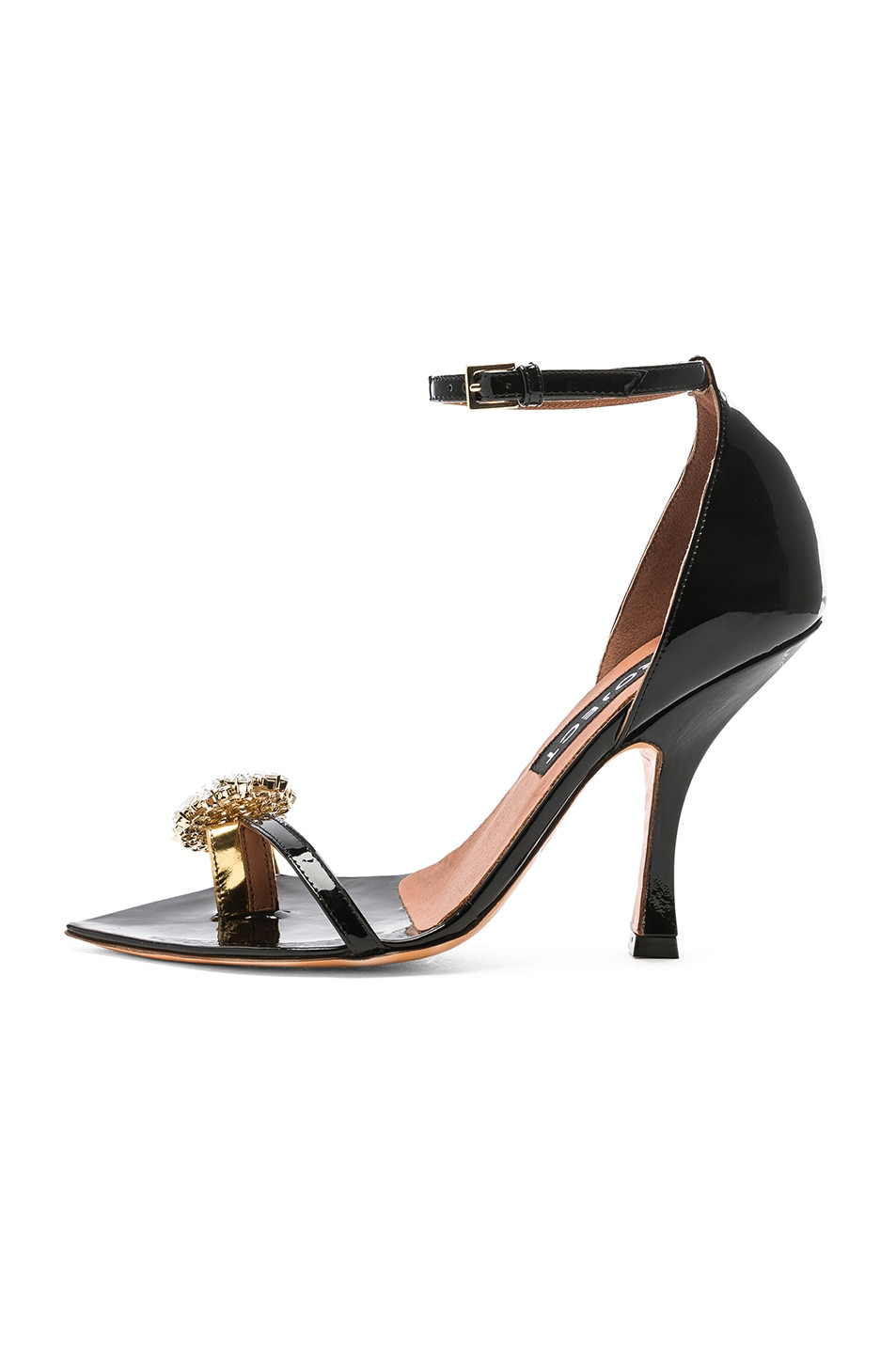Image 8 of Y/Project High Heel Crystal Sandal in Black