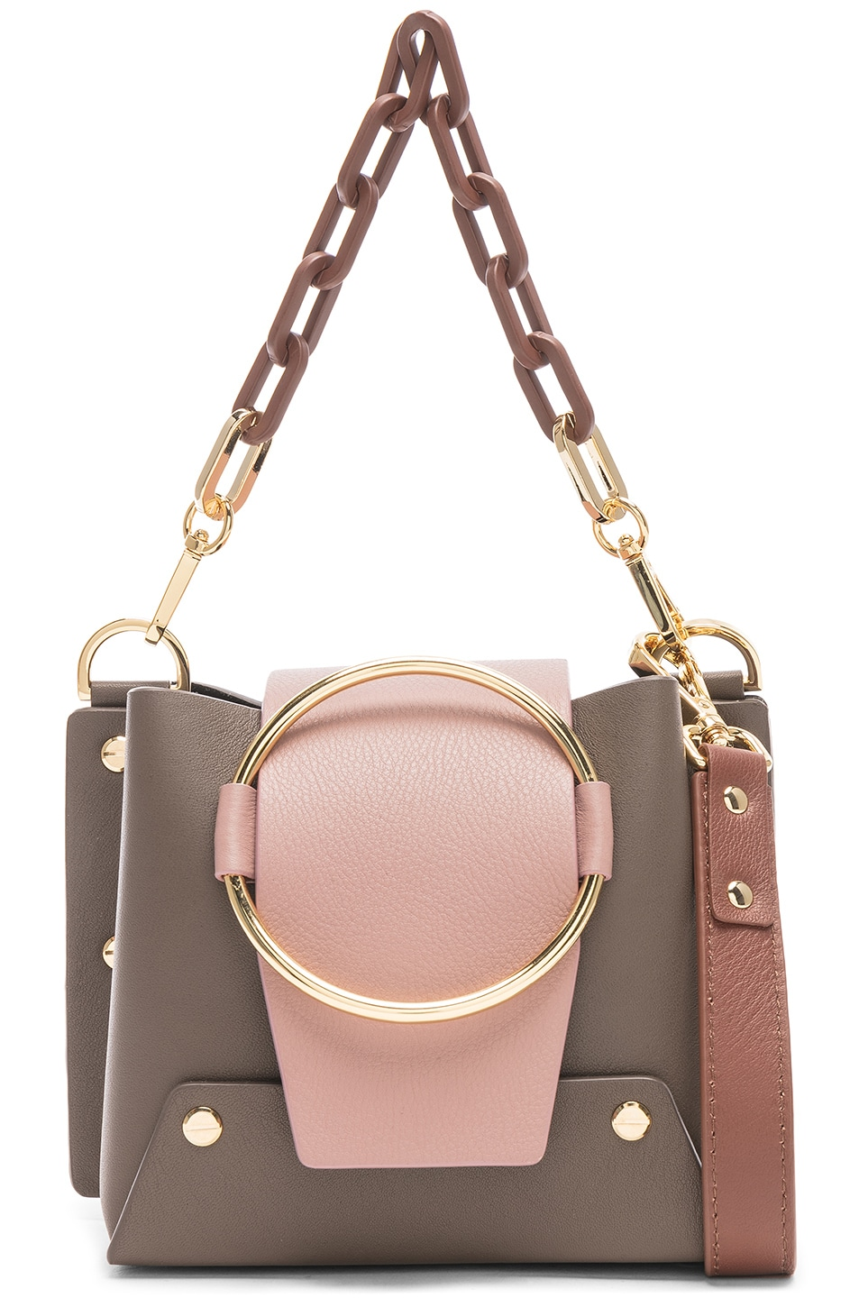 Image 1 of Yuzefi Mini Delila Bag in Bruciato & Taupe
