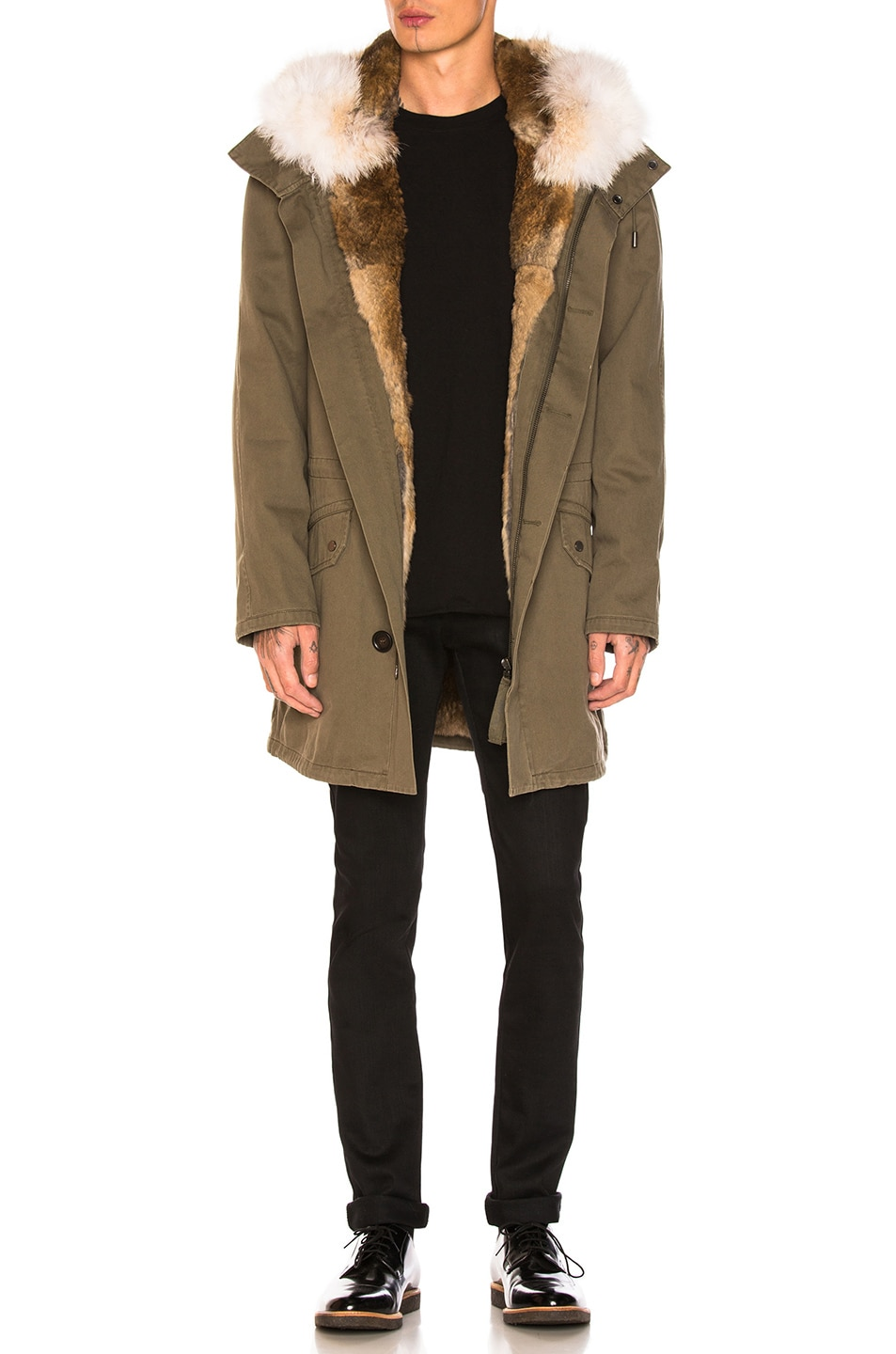 Image 1 of Yves Salomon Cotton Parka with Rabbit and Coyote Fur in Hunter Green & Oil