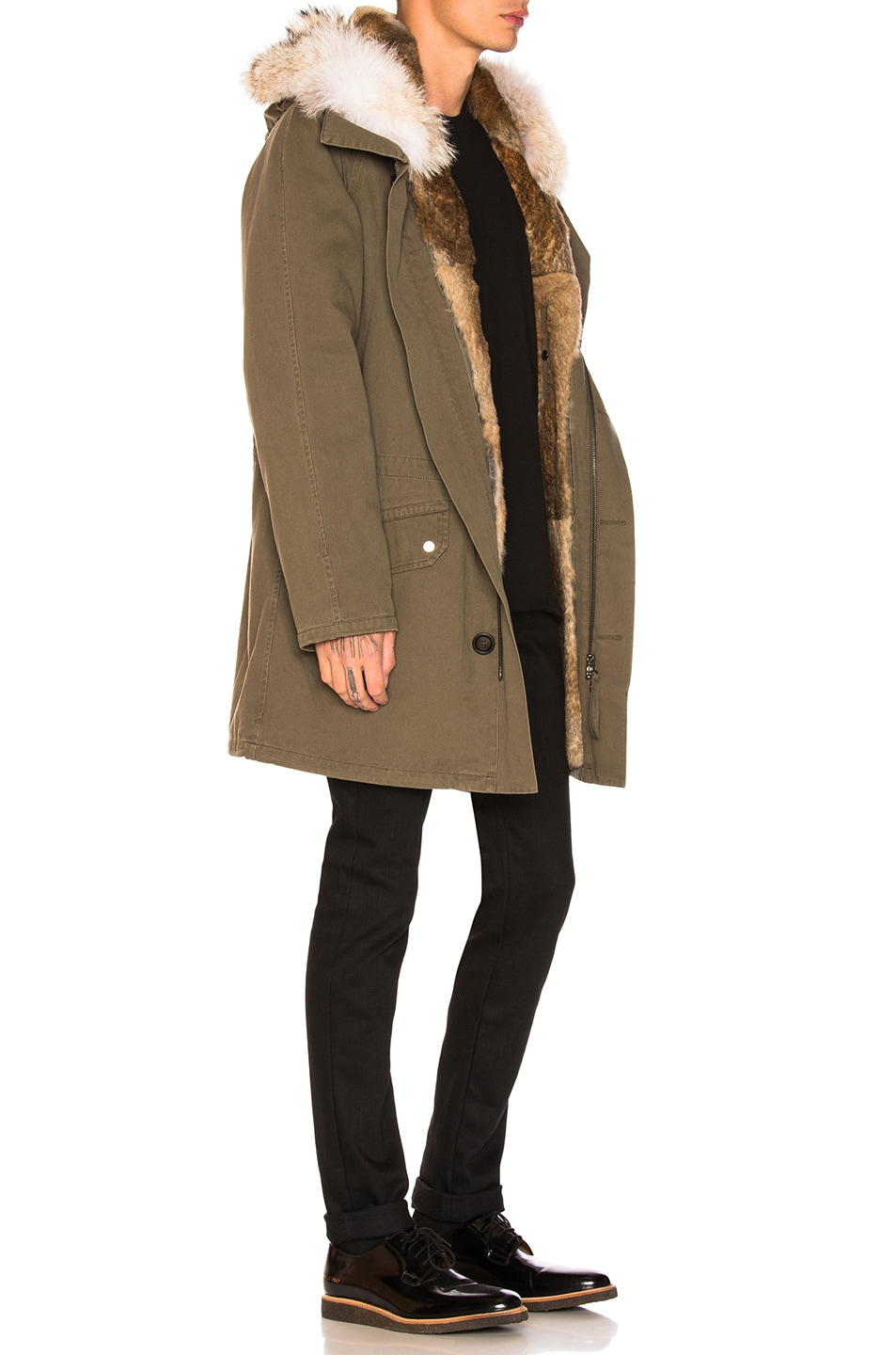 Image 3 of Yves Salomon Cotton Parka with Rabbit and Coyote Fur in Hunter Green & Oil