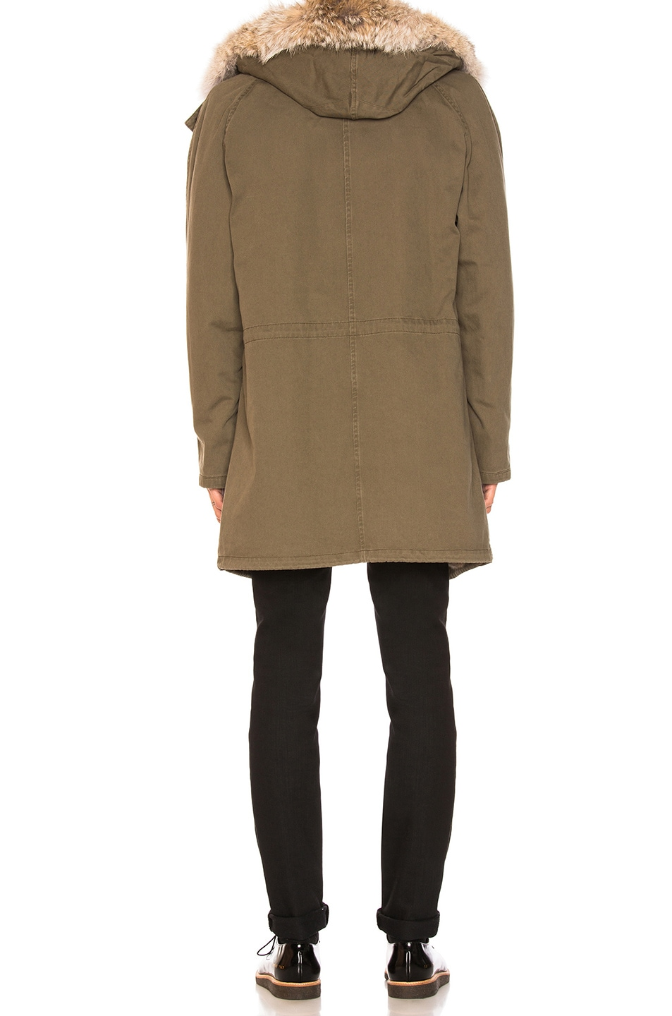 Image 4 of Yves Salomon Cotton Parka with Rabbit and Coyote Fur in Hunter Green & Oil