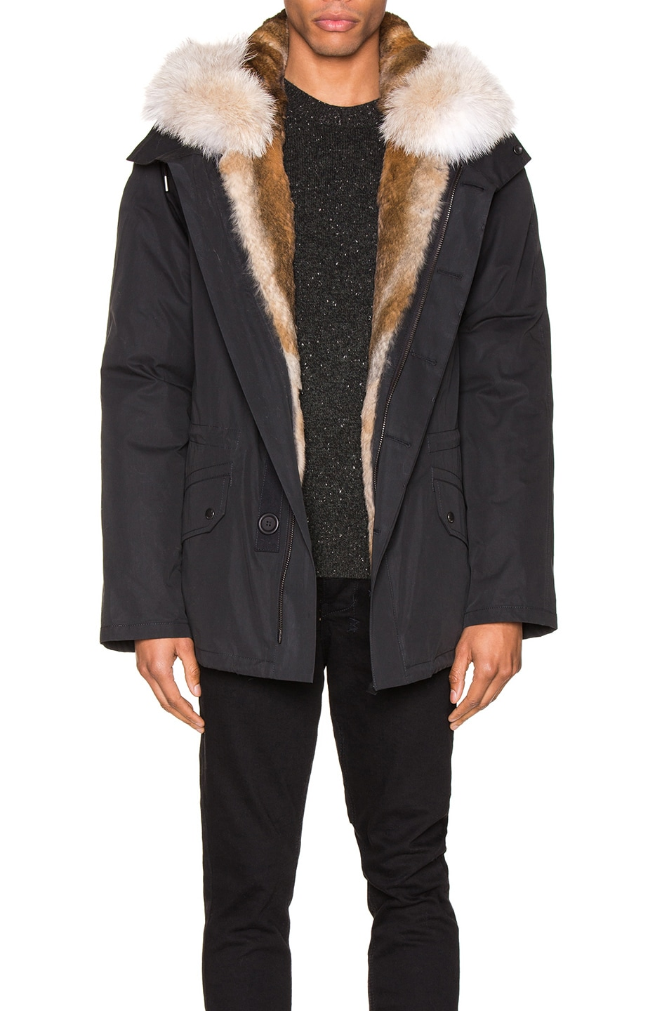 Image 1 of Yves Salomon Parka with Rabbit and Coyote Fur in Noir & Naturel