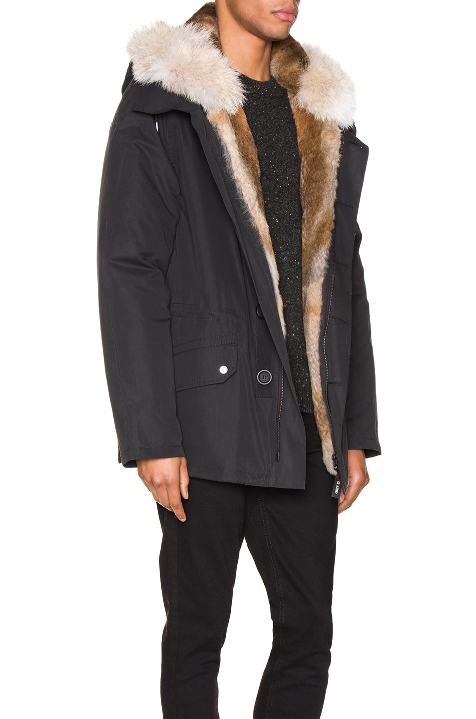 Image 3 of Yves Salomon Parka with Rabbit and Coyote Fur in Noir & Naturel