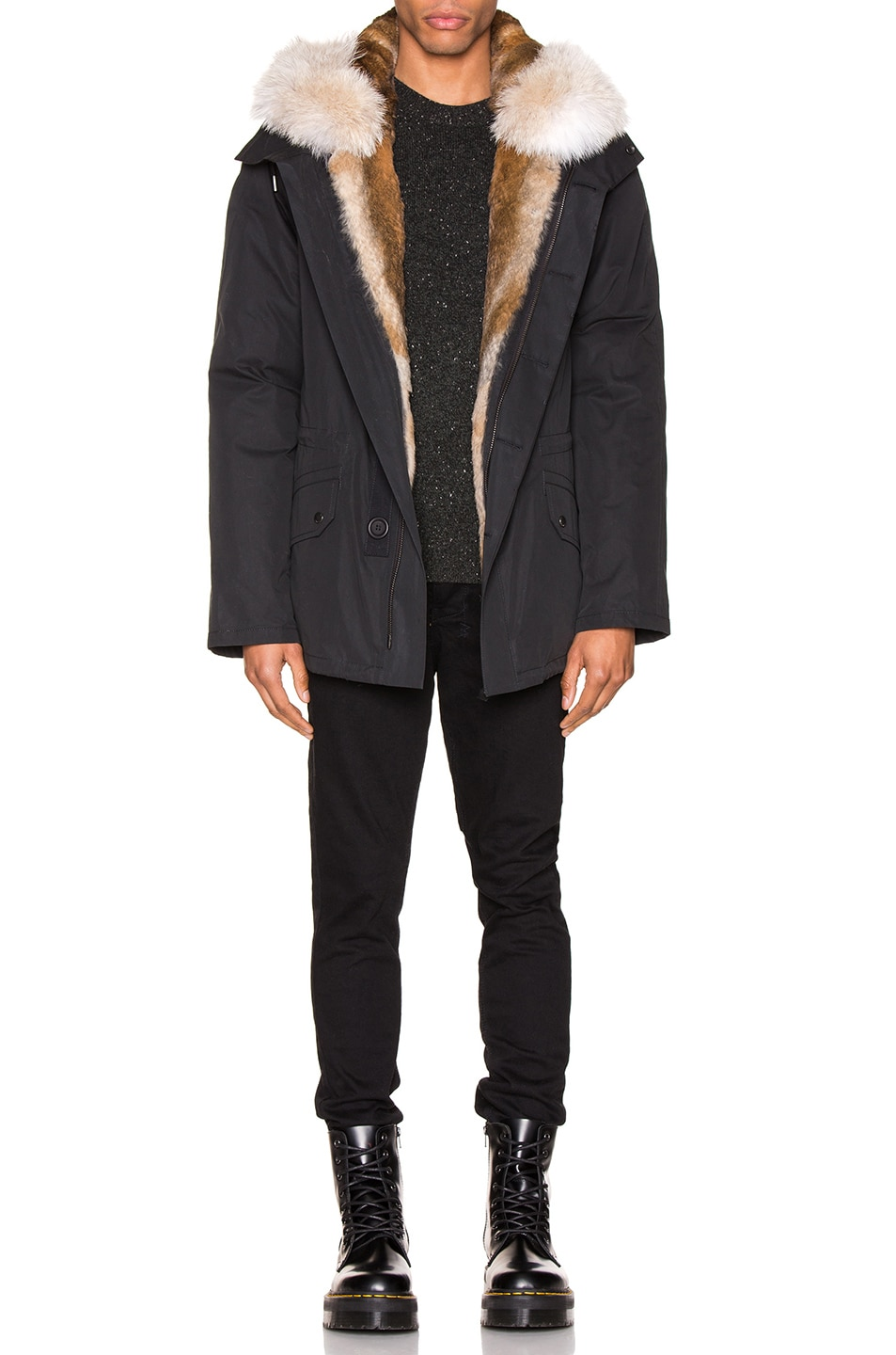 Image 5 of Yves Salomon Parka with Rabbit and Coyote Fur in Noir & Naturel