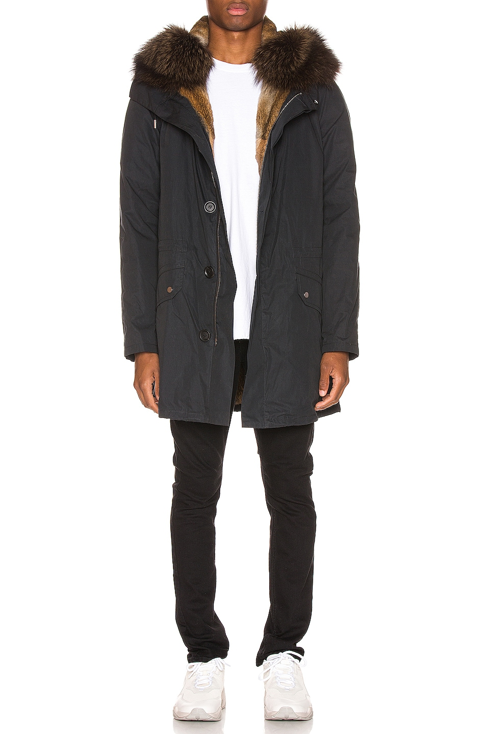 Image 1 of Yves Salomon Parka with Coyote Fur in Black & Oil