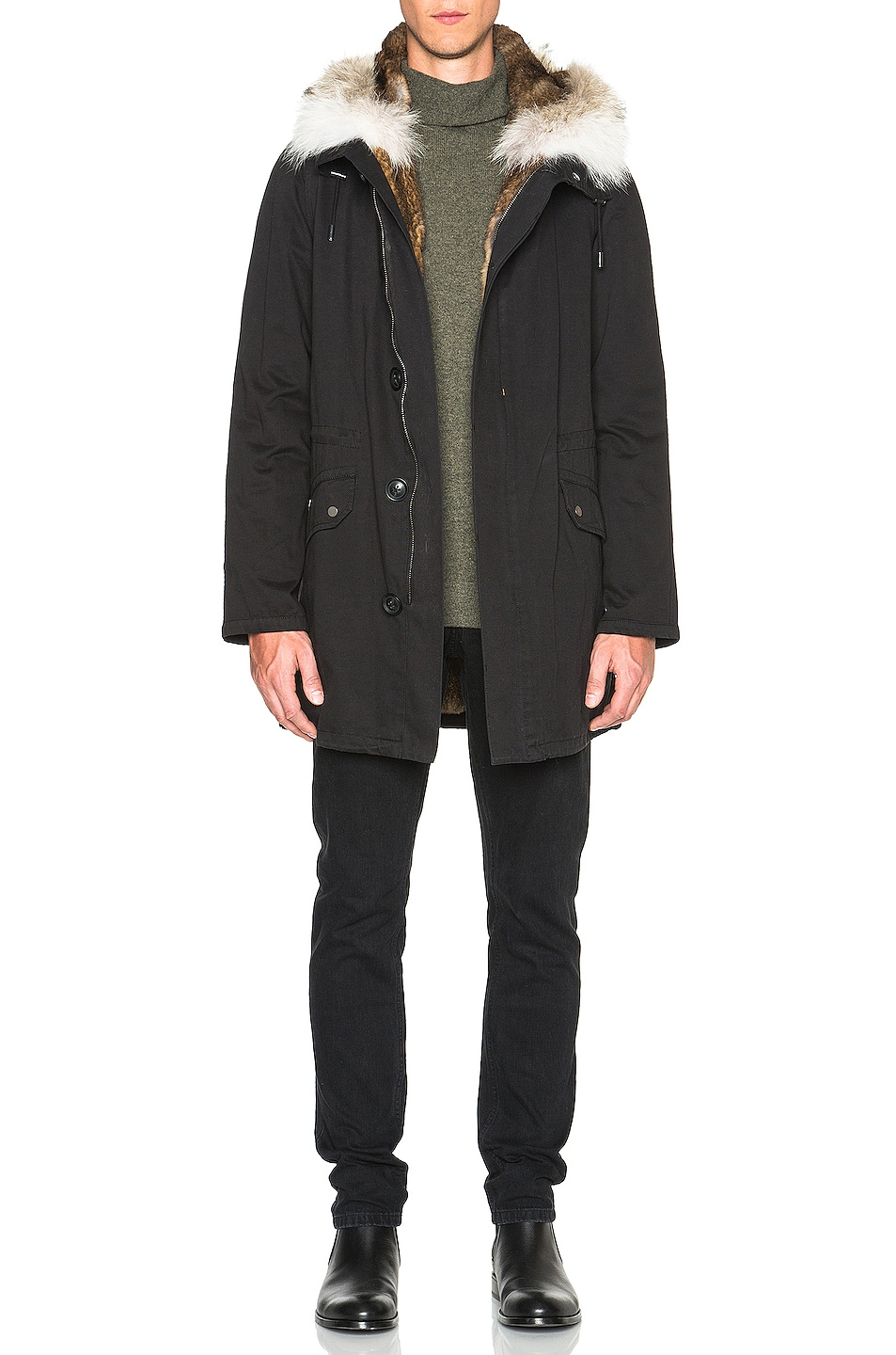 Image 2 of Yves Salomon Parka with Coyote Fur in Black & Oil