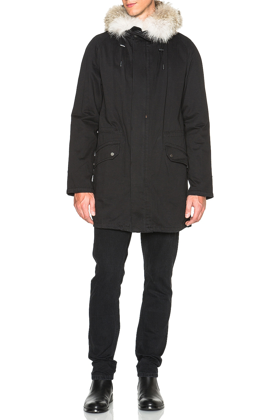Image 3 of Yves Salomon Parka with Coyote Fur in Black & Oil