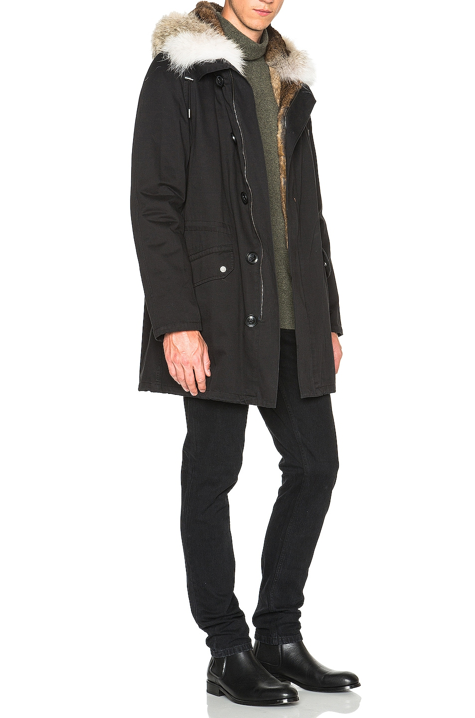 Image 4 of Yves Salomon Parka with Coyote Fur in Black & Oil