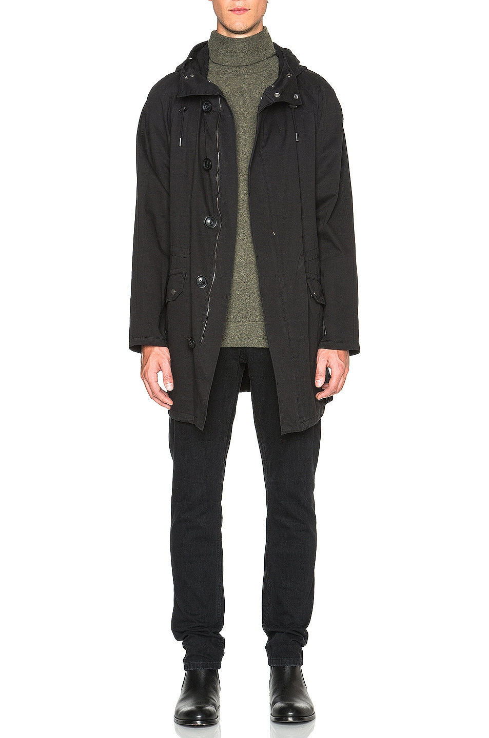 Image 5 of Yves Salomon Parka with Coyote Fur in Black & Oil