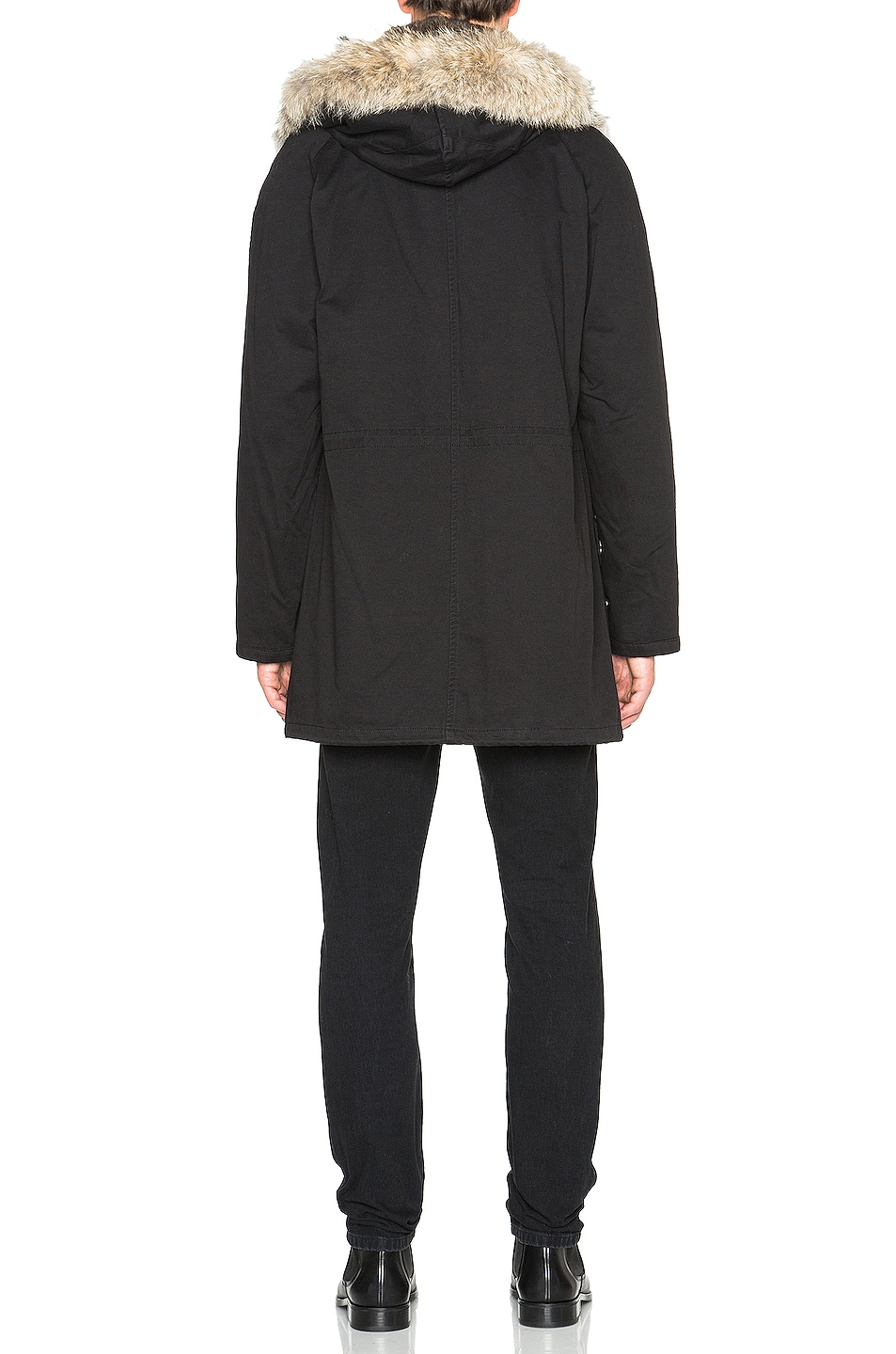 Image 7 of Yves Salomon Parka with Coyote Fur in Black & Oil
