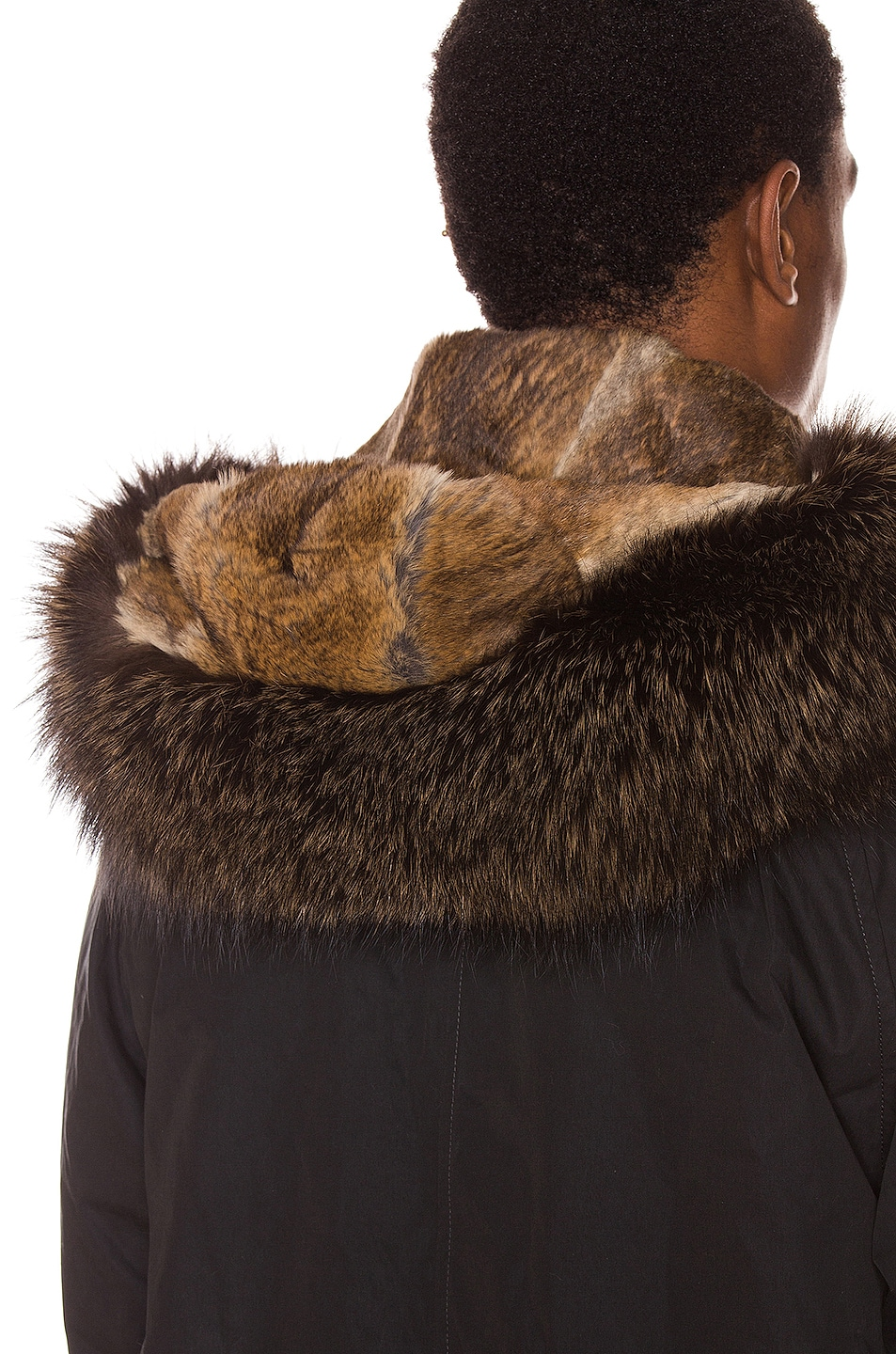 Image 8 of Yves Salomon Parka with Coyote Fur in Black & Oil