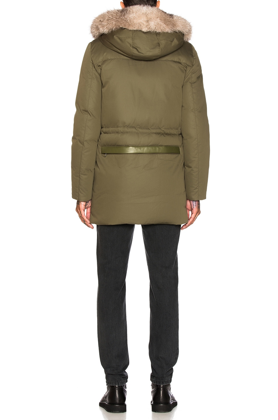 a64c0feb5dd Image 6 of Yves Salomon Hooded Parka with Green Rabbit and Blue Frost Fox  Fur in