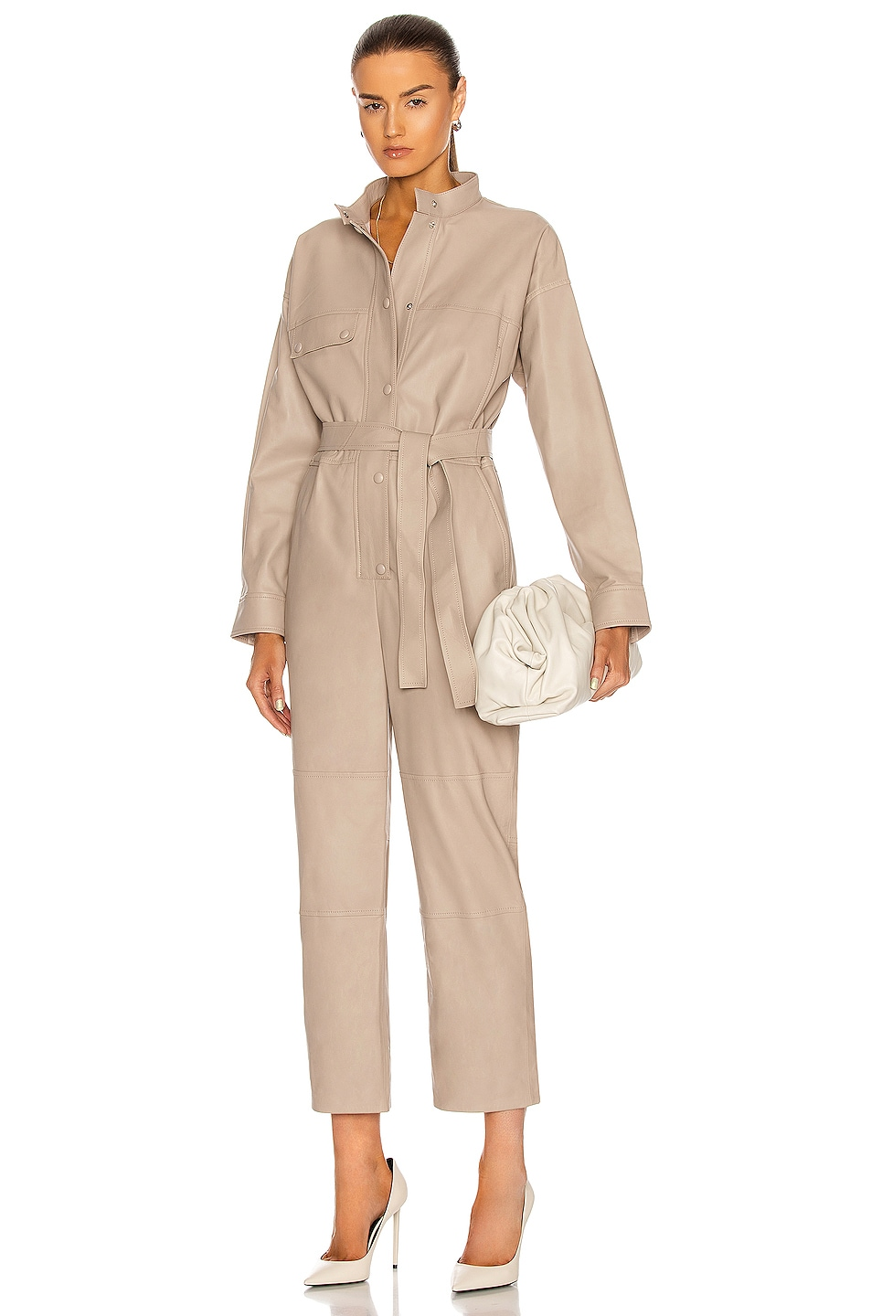 Image 1 of Yves Salomon Lamb Leather Jumpsuit in Sand