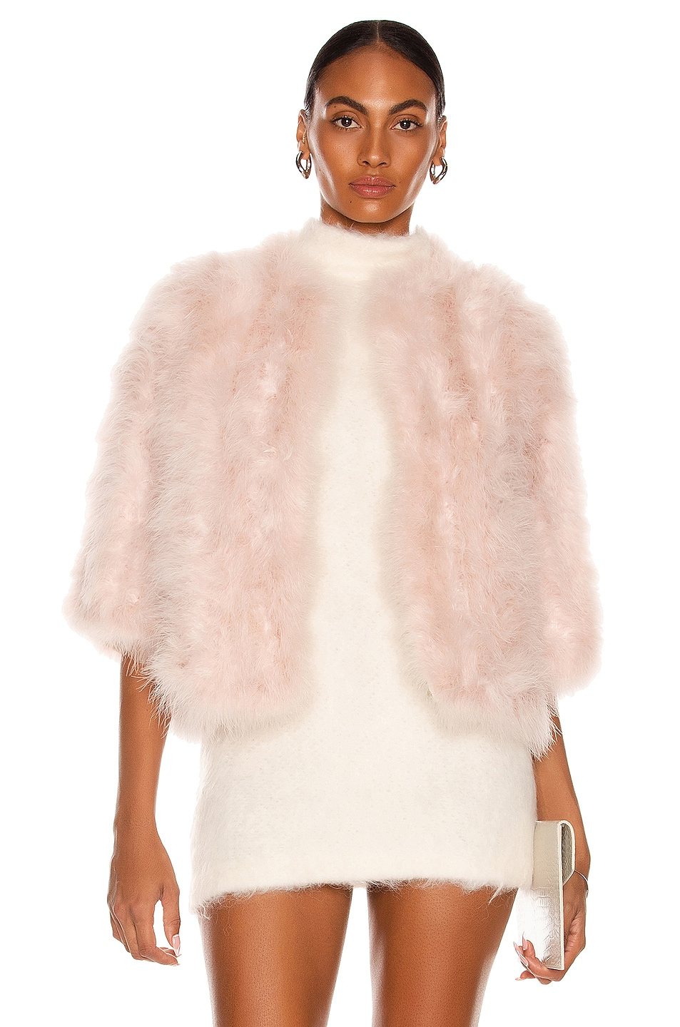 Image 1 of Yves Salomon Feather Cropped Jacket in Eau de Rose