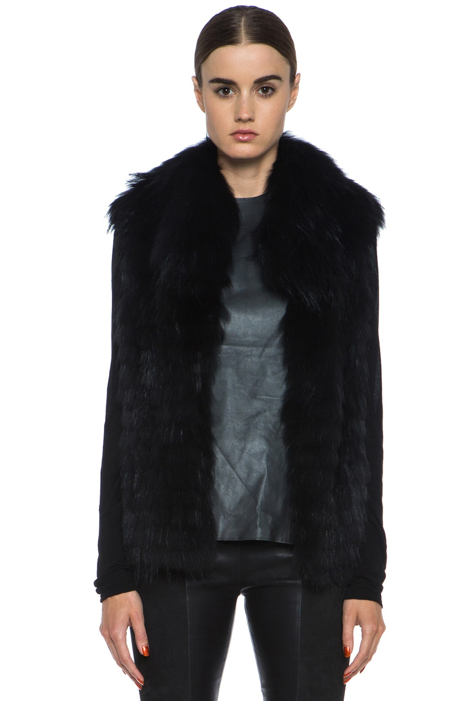 Image 1 of Yves Salomon Fur Vest with Popped Collar in Black